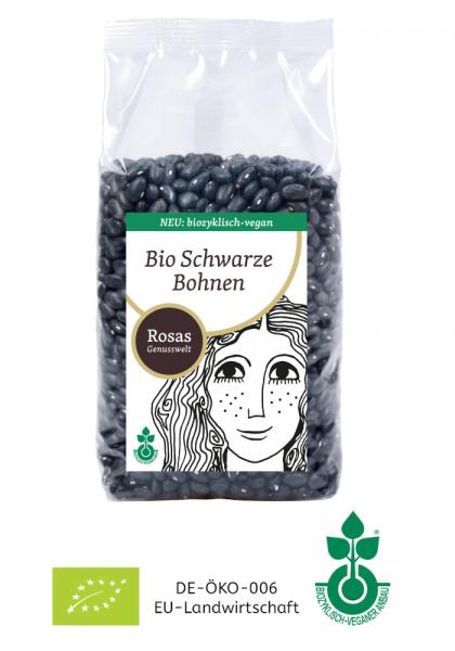 Bio-vegane Schwarze Bohnen aus Ungarn trocken biozyklisch-vegan 500g