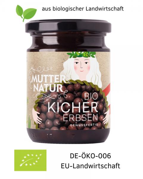 Bio-vegane Kichererbsen genussfertig im Glas aus Österreich (Europa) 235 g aus biologischer Landwirtschaft