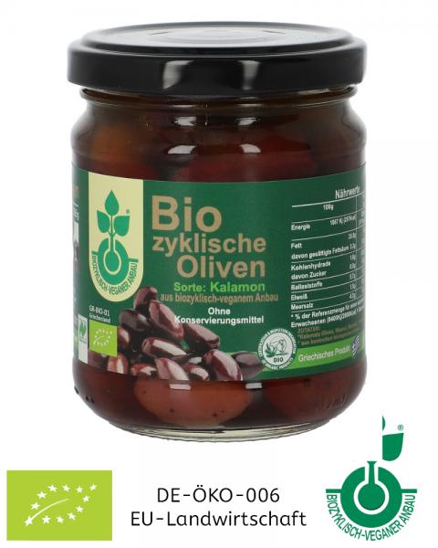 125 g Biozyklische Kalamon Bio-Oliven im Glas (mit Stein) eingelegt kaufen