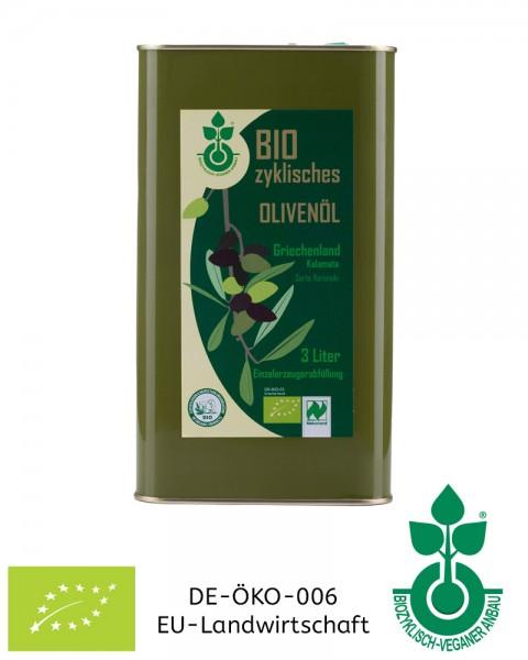 3 Liter Olivenöl biozyklisch-vegan, aus Griechenland (Kanister) aus Koroneiki-Oliven, Ernte 2019/202