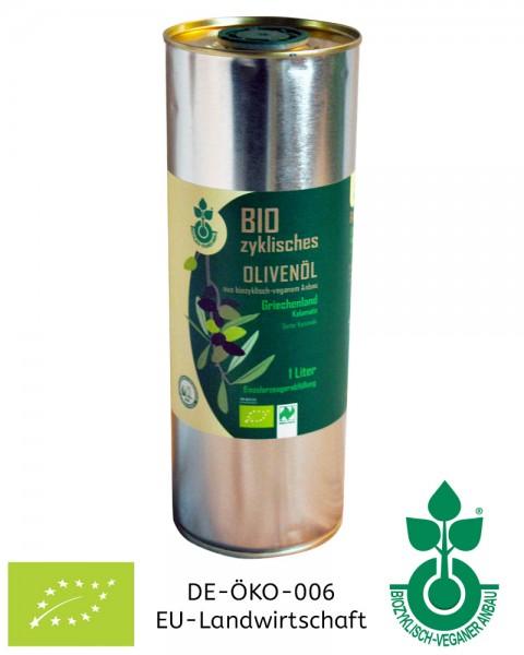 Olivenöl 1 Liter Kanister kaufen aus biozyklisch-veganem Anbau (Lebensmittel)