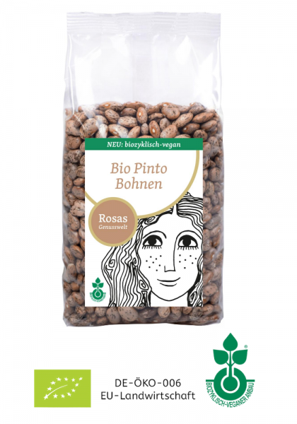 BIO Pinto Bohnen trocken biozyklisch-vegan 500g Rosas Genusswelt