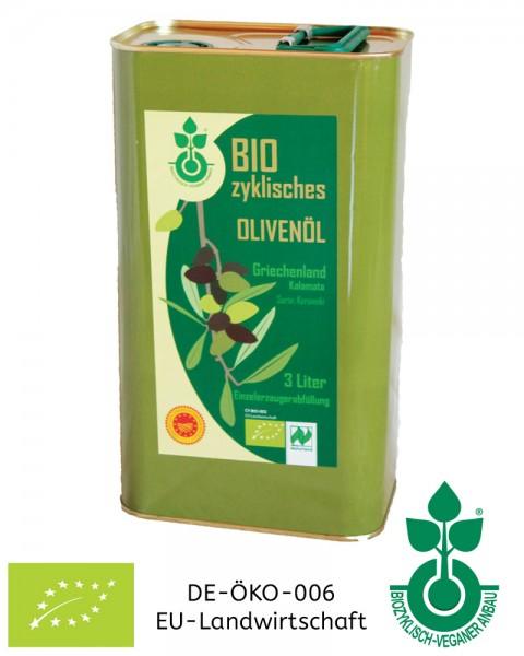 3 Liter biozyklisch-veganes Olivenöl aus tierleidfreier Landwirtschaft - jetzt bestellen!