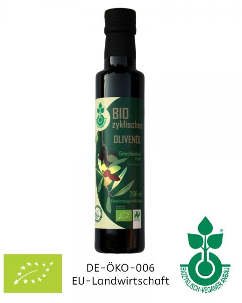 Bio-Olivenöl testen in der 250 ml Probierflasche - aus nachhaltiger Landwirtschaft