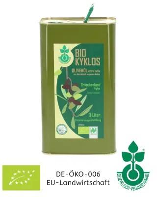 3 Liter Olivenöl biozyklisch-vegan, aus Griechenland (Kanister) Koroneiki-Oliven, Ernte 2020/2021