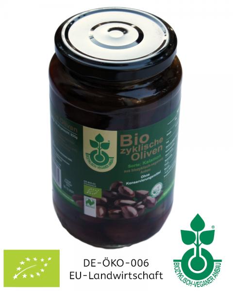 380 g Biozyklische Kalamon Bio-Oliven im Glas (mit Stein) eingelegt