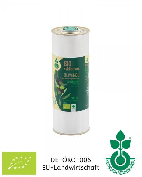 0,5l Bio-Olivenöl aus Griechenland, biozyklisch-veganer Anbau, jetzt kaufen