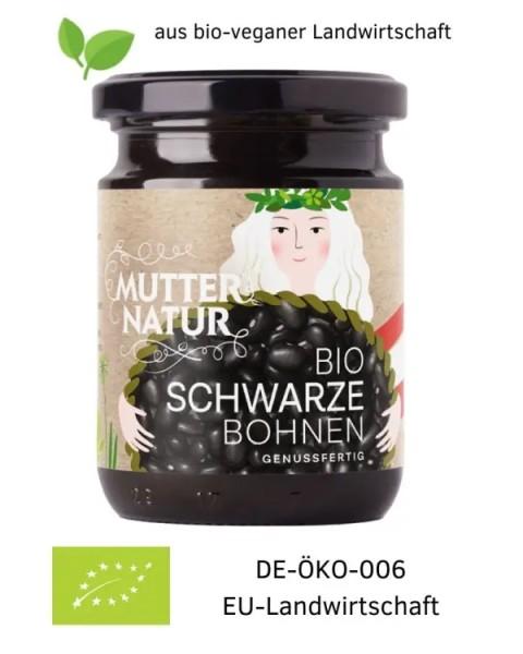 Bio-vegane Schwarze Bohnen genussfertig im Glas aus Österreich (Europa) 235 g aus bio-veganer Landwirtschaft