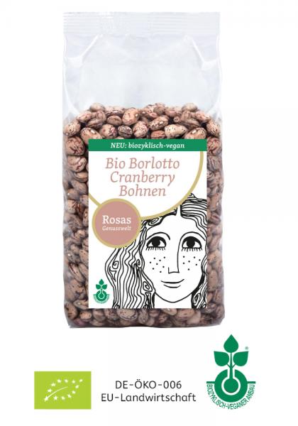 BIO Borlotto Cranberry Bohnen trocken biozyklisch-vegan 500g von bio-veganem Bauernhof