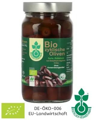 380 g Biozyklische Kalamon Bio-Oliven im Glas (mit Stein) eingelegt kaufen