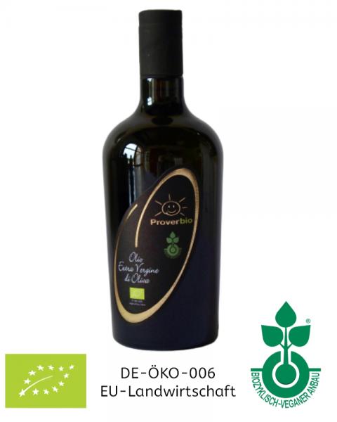 750 ml Flasche Bio-Olivenöl, extra nativ, kaltgepresst biozyklisch-vegan, Italien / Sizilien Sorteinrein & extra vergine Direktimport vom Erzeuger