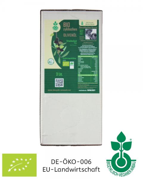 3 Liter Bag in Box Olivenöl NEUE ERNTE biozyklisch-vegan, Griechenland aus Koroneiki-Oliven