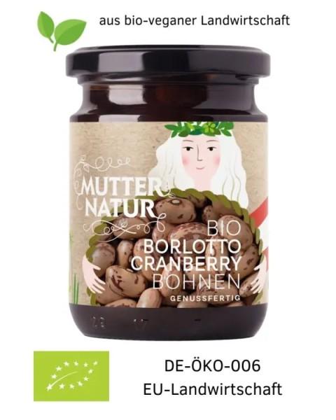 Bio-vegane Cranberry Borlotto Bohnen genussfertig im Glas aus Österreich (Europa) 235 g aus bio-veganer Landwirtschaft