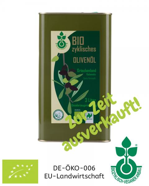 Bio-Olivenöl Kalamata aus Griechenland, 3 Liter Kanister, sorteinrein Koroneiki, aus biozyklisch-veganem Anbau